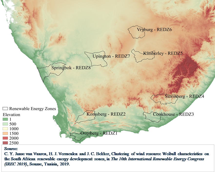 Formulation of clustered geographical profiles within the South African renewable energy development zones for computationally intense data manipulation exercises to represent a highly reduced dataset
