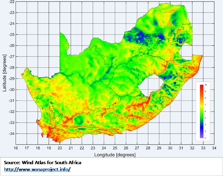 The best of determining the wind energy potential anywhere in South Africa